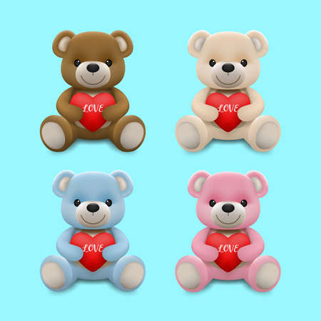 Realistic little cute smiling baby bear doll character hug red heart and sitting on the ground isolated on white background. An animal bear cartoon relaxing gesture. Vector illustration design.