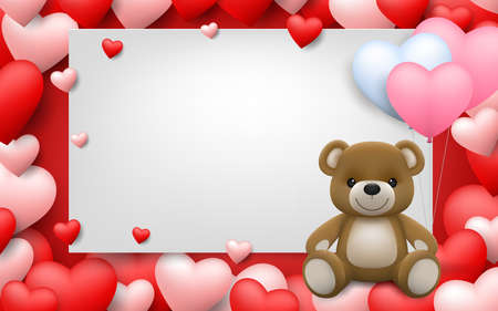 Realistic little cute smiling baby bear doll character hug red heart and sitting on white frame with full of hearts background. An animal bear cartoon relaxing gesture. Vector illustration design.
