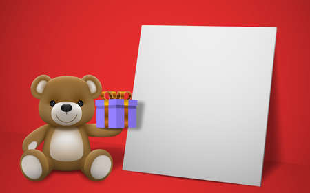 Realistic little cute smiling baby bear doll character holding a present gift and sitting on white frame with red background. An animal bear cartoon relaxing gesture. Vector illustration design.