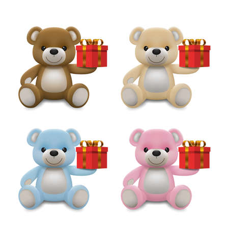 Realistic little cute baby bear doll character smiling and holding a red present gift for love. An animal bear cartoon relaxing gesture. Vector illustration design.