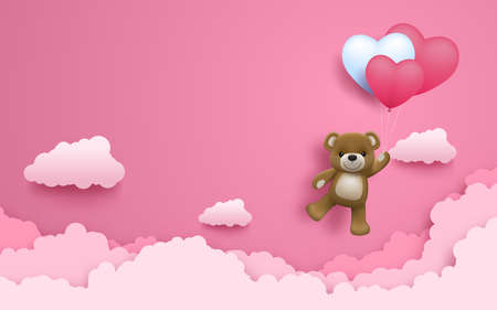 Illustration of love and valentine day, Realistic cute happy baby bear with air heart shape balloon flying on the pink sky. Wedding theme card or poster in vector 3D design. Ilustração