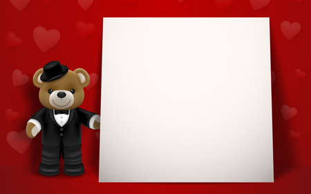Realistic little cute smiling bear doll wear tuxedo character holding a gift box and standing next to white frame on red background. Valentine's day and love concept vector illustration design.