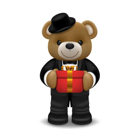 Realistic little cute smiling bear doll wear tuxedo character holding a gift box and standing isolated on white background. Valentine's day and love concept vector illustration design.