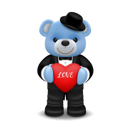 Realistic little cute smiling bear doll wear tuxedo character holding a red heart and standing isolated on white background. Valentine's day and love concept vector illustration design. Ilustração