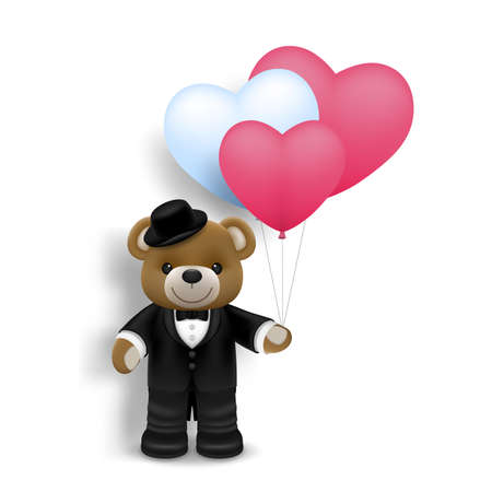 Illustration of love and valentine day, Realistic cute happy baby bear with air heart shape balloon isolated on white background. Wedding theme card or poster element in vector 3D design.