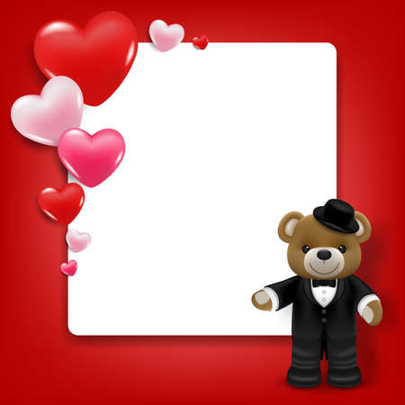Realistic little cute smiling bear doll character stand in front of white frame with hearts. Vector illustration of love and valentine's day. Wedding theme card or poster element in vector 3D design.