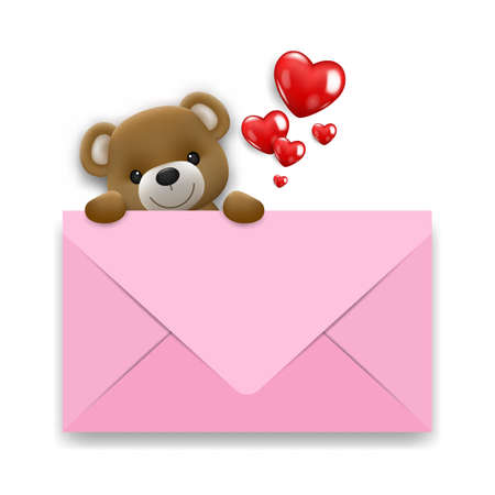 Realistic little cute smiling bear doll character climb up behind a white mail with hearts. Vector illustration of love and valentine's day. Wedding theme card or poster element in vector 3D design.