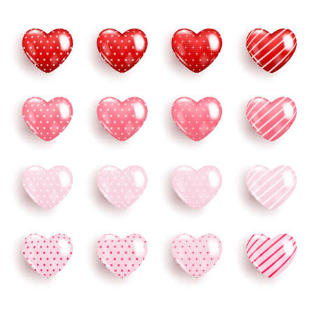 Realistic Valentine heart icon collection in different color, Symbol of love icon 3d style modern design isolated on white blank background. Vector illustration design.