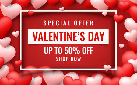 Realistic vector template of Valentine's Day sale background with balloons hearts icon. Romantic composition of frame and banner for discount, special offers, website, posters, promotional material.