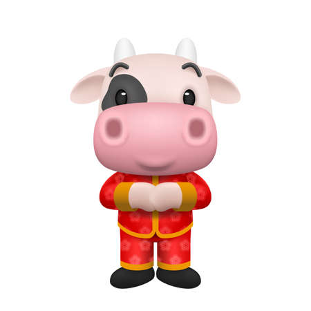 2021 Happy Chinese new year, year of the greeting little cute ox cartoon realistic character design isolated on white background. Ilustração