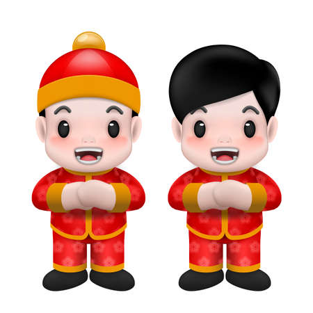 2021 Happy Chinese new year, year of the greeting little cute chinese boy wear red cloth cartoon realistic character design isolated on white background. Ilustração