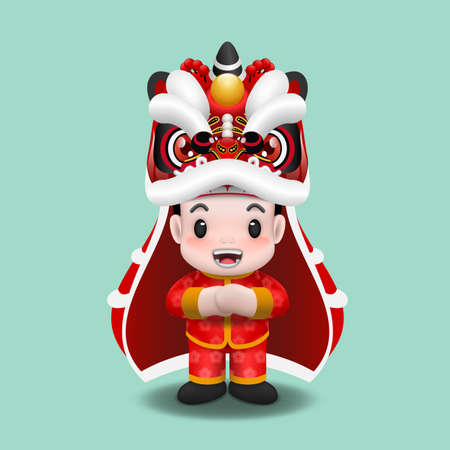 Cute asian boy celebrate Lunar new year festival by dancing with Lion dance performance. Chinese tradition realistic 3d clip art.