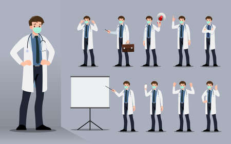 Flat design concept of the doctor with different poses such as explaining and presenting process gestures, actions and poses. Vector cartoon character design set.