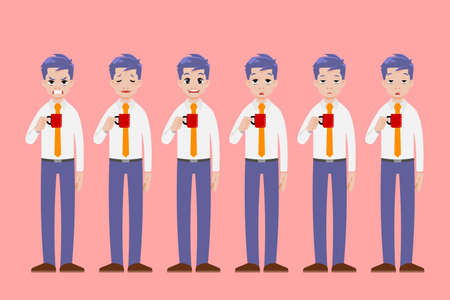 Businessman stand and hold a cup of coffee drink in different pose gesture and show many face emotion.