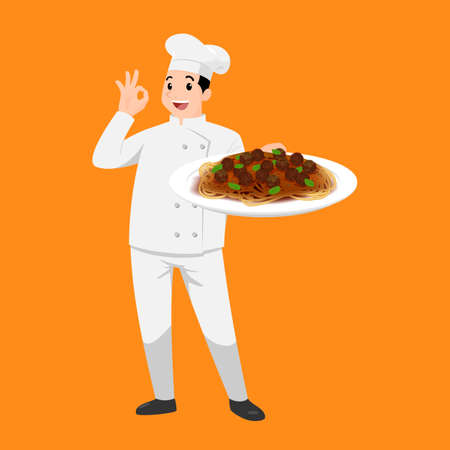 Happy chef cartoon portrait of young big guy cook wearing hat and chef uniform hold plate of spaghetti and do OK sign gesture. Man cook delicious food and show to camera. Vector simple design.