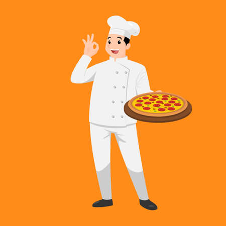 Happy chef cartoon portrait of young big guy cook wearing hat and chef uniform hold plate of delicious pizza and do OK sign gesture. Man cook and Italian food and show to camera. Vector simple design.