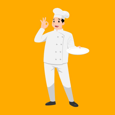 Happy chef cartoon portrait of young big guy cook wearing hat and chef uniform hold empty dish and do OK sign gesture and show to camera. Vector simple design.