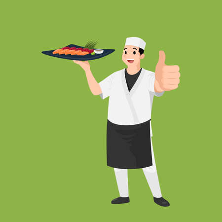 Happy Japanese chef cartoon portrait of young big guy cook wearing hat and chef uniform hold dish of sushi and do thumb up sign gesture. Man cook delicious food and show to camera.