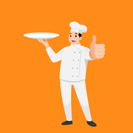 Happy chef cartoon portrait of young big guy cook wearing hat and chef uniform hold empty dish and do thumb up sign gesture and show to camera. Vector simple design.