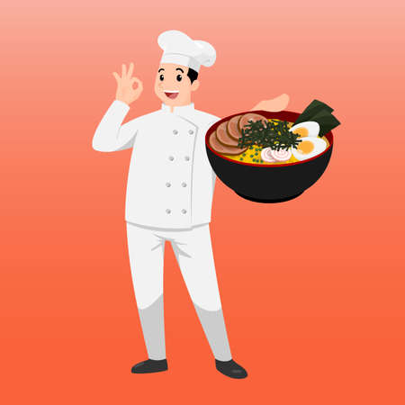 Happy chef cartoon portrait of young big guy cook wearing hat and chef uniform hold bowl of ramen and do thumb up sign gesture. Man cook delicious food and show to camera.