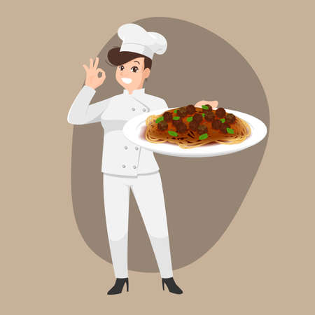 Happy chef cartoon portrait of young woman cook wearing hat and chef uniform hold spaghetti dish and do OK sign gesture and show to camera. Vector simple design.