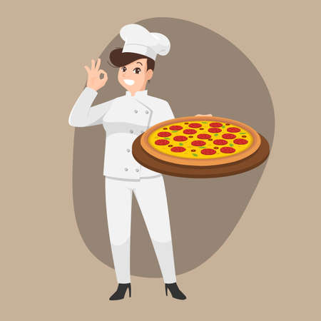Happy chef cartoon portrait of young woman cook wearing hat and chef uniform hold pizza plate and do OK sign gesture and show to camera. Vector simple design.
