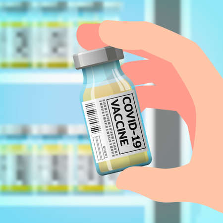 A right hand holding a bottle of the newly developed coronavirus vaccine, COVID-19 to prevent the spread of the virus that is spreading around the world with letters on the label, medical concept.