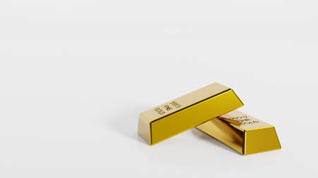Close-up gold bullion bars concept of financial wealth and reserve. Precious metal investment as a store of value. Digital 3d rendering. Imagens