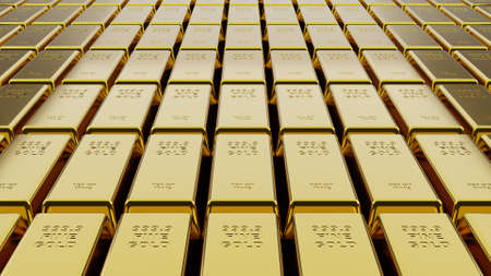 Close-up stack of gold bullion bars concept of financial wealth and reserve. Precious metal investment as a store of value. Digital 3d rendering.