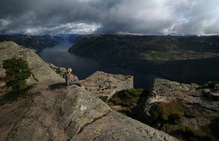 looking through frame: View on the Lysefjord, Norway, from Preikestolen