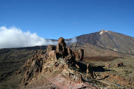 garcia: Cinchado rock of Los Roques de Garcia and Teide volcano (Tenerife) Stock Photo