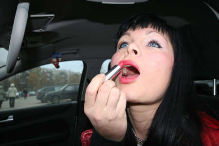 Make-up in the car photo