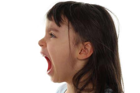 Extremely sad little girl crying isolated on white background Stock Photo - 5768536