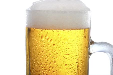 un bottled: Frosty glass of light beer