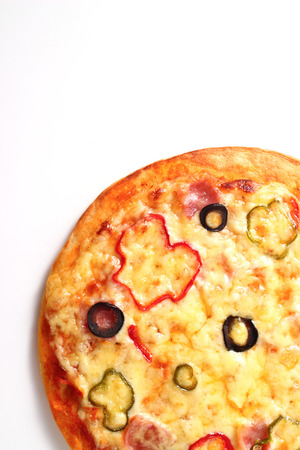 calories poor: pizza on white background