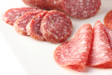 spicey: Closeup of  sliced salami