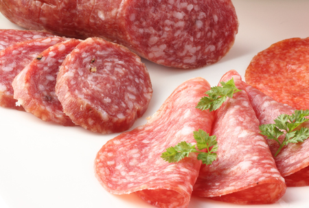 Closeup of  sliced salami