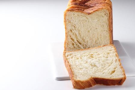 epicurean: Plain bread on white background Stock Photo