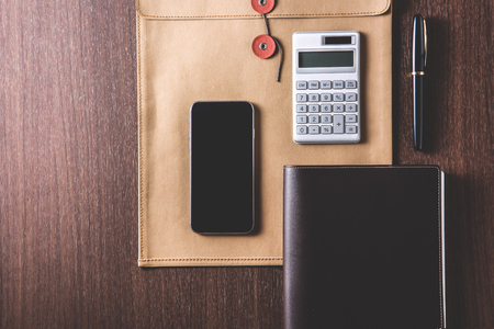 table top: business items on wooden table