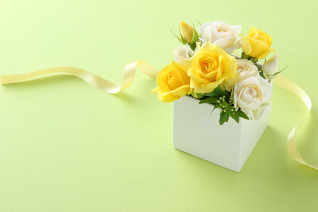 flower gift on green background 写真素材