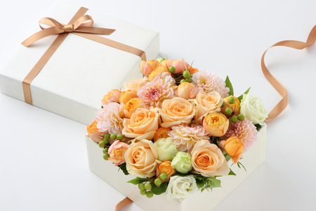 flower gift on white background