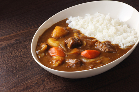 Japanese curry on wooden table