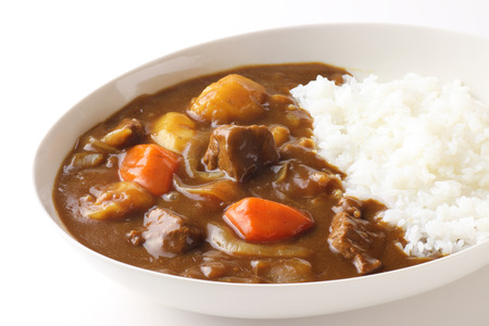 Japanese curry on white background Stock Photo
