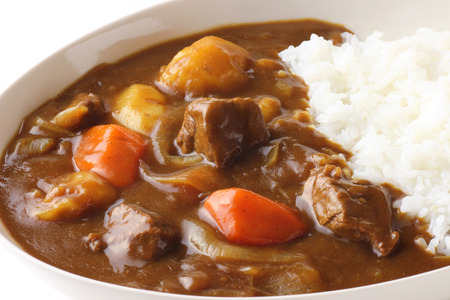 Japanese curry on white background 스톡 콘텐츠
