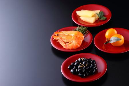 Osechi, oudejaars gerechten Stockfoto