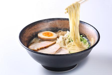 japanese ramen noodles on white background