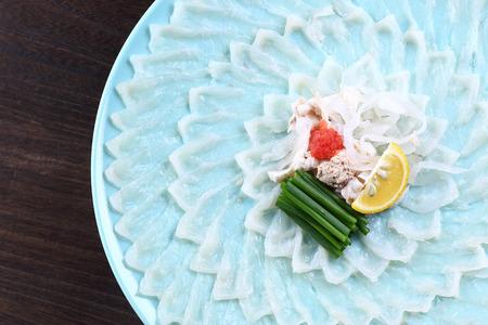 blowfish sashimi on the table