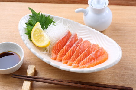 Salmon sashimi on the table