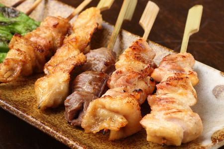 Japanese yakitori on the table