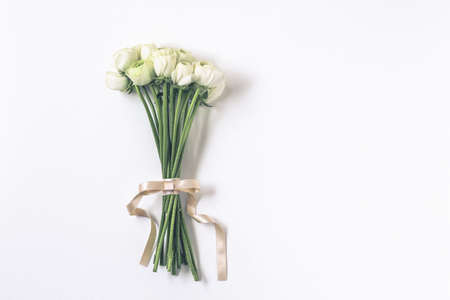 white flowers bouquet on white background Stock Photo